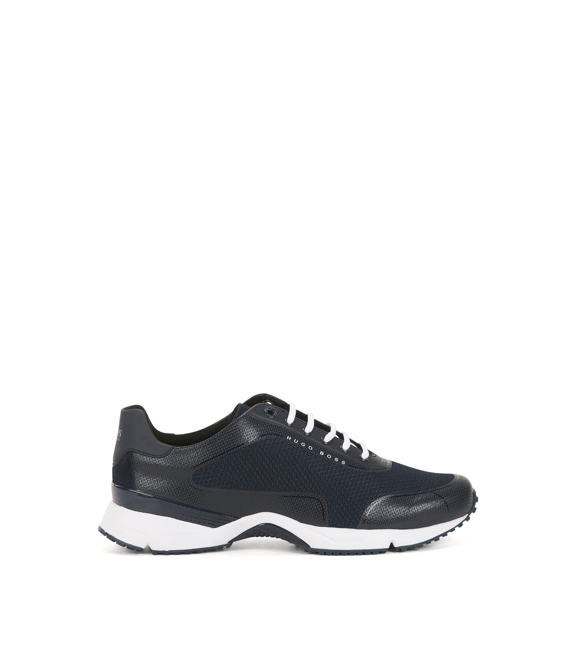 Sneakers van mesh met thermisch gehechte details, Donkerblauw