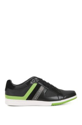 Low-top lace-up trainers in leather and canvas with stripe detail, Black