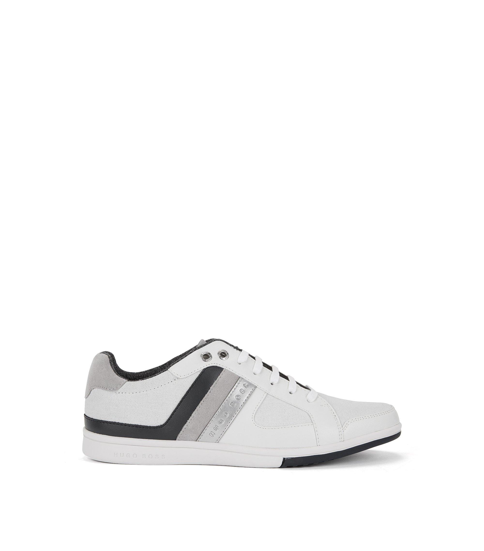 Sneakers stringate low-top in pelle e tela con dettaglio a righe, Bianco