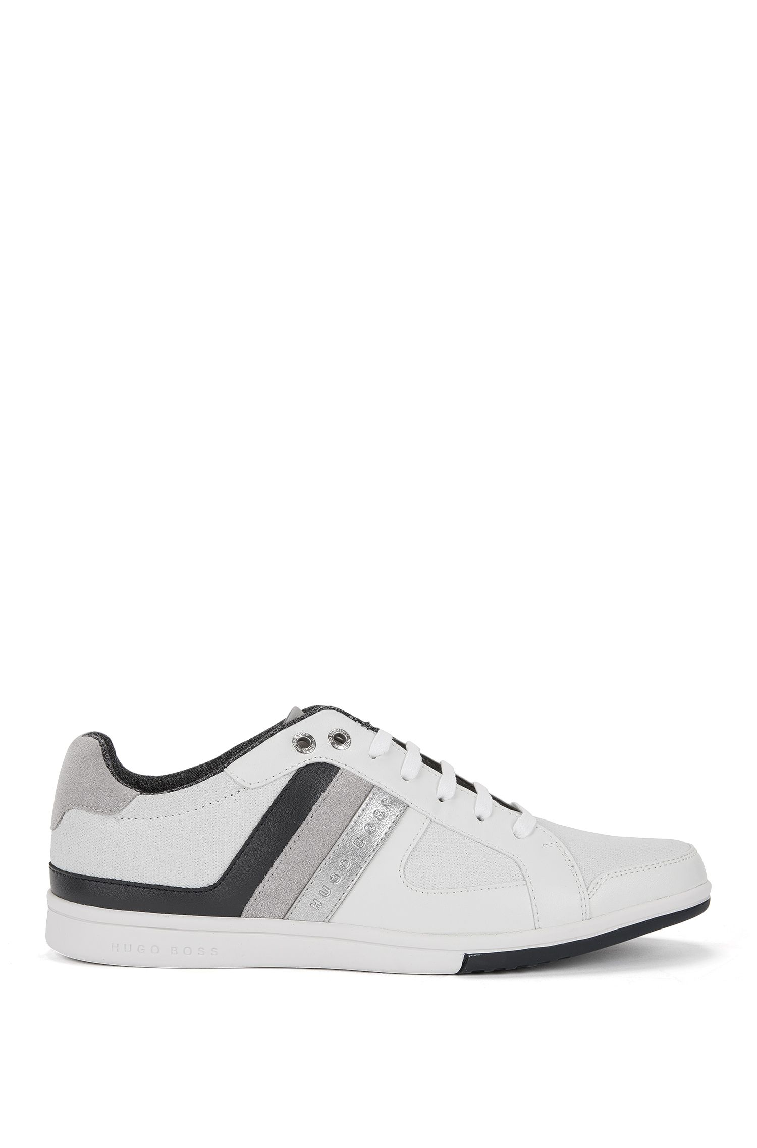 Low-top lace-up trainers in leather and canvas with stripe detail