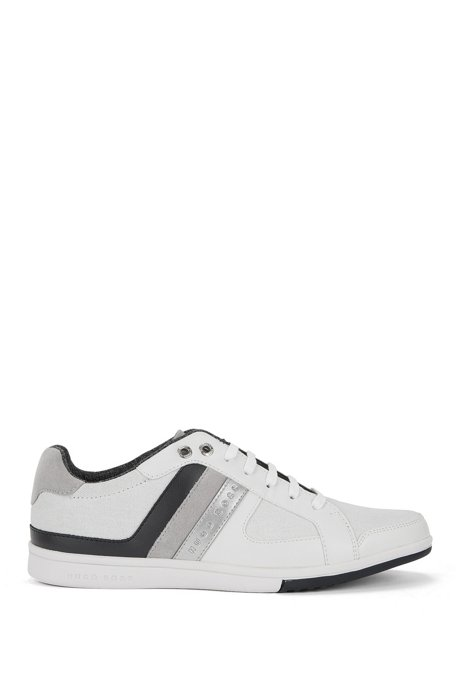 Low-top lace-up trainers in leather and canvas with stripe detail, White