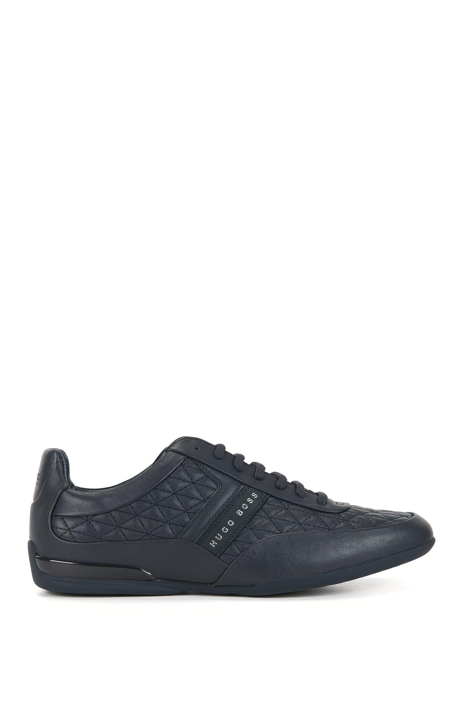 Sneakers low-top in pelle pregiata