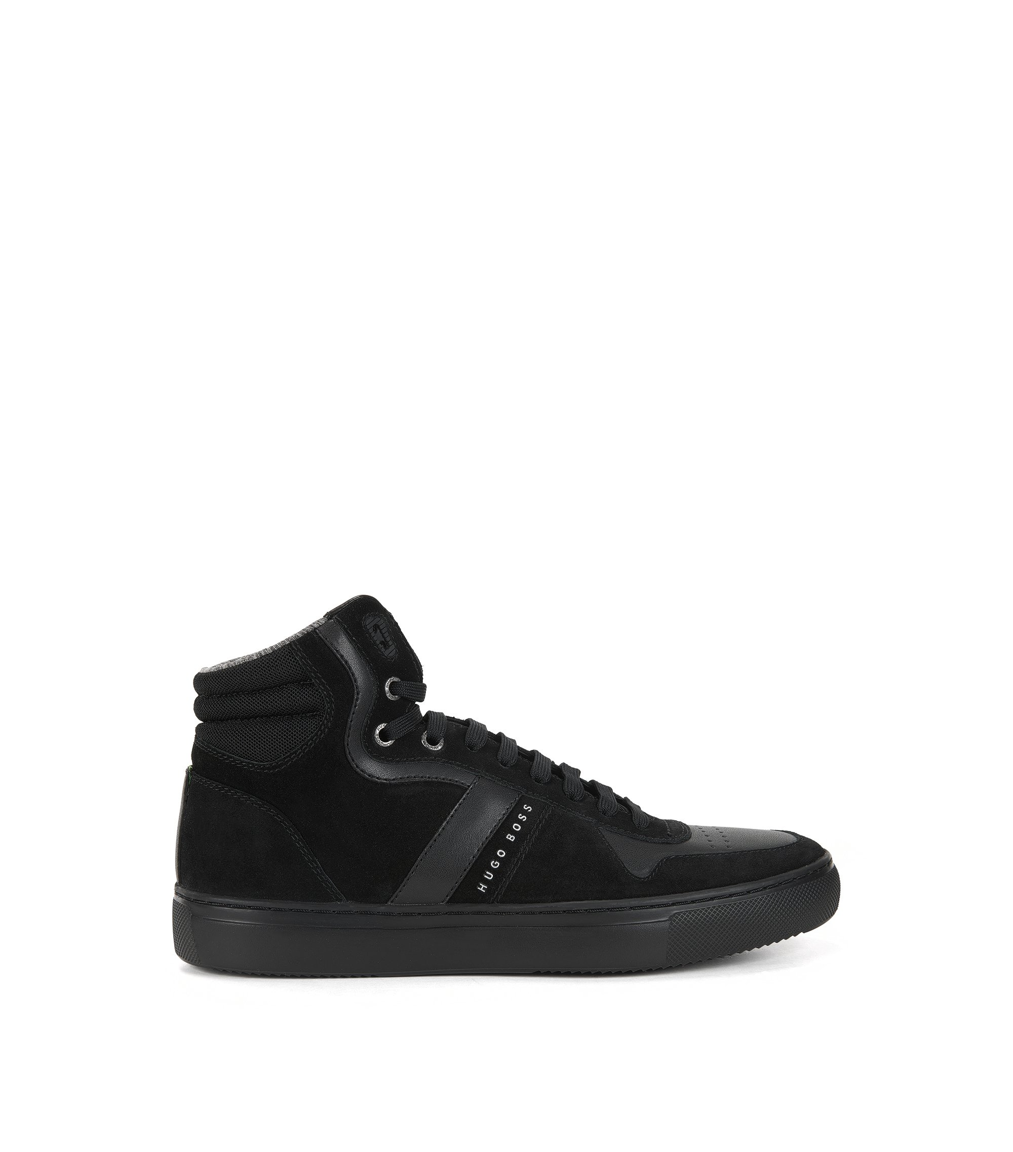 High-top trainers in leather and suede, Black