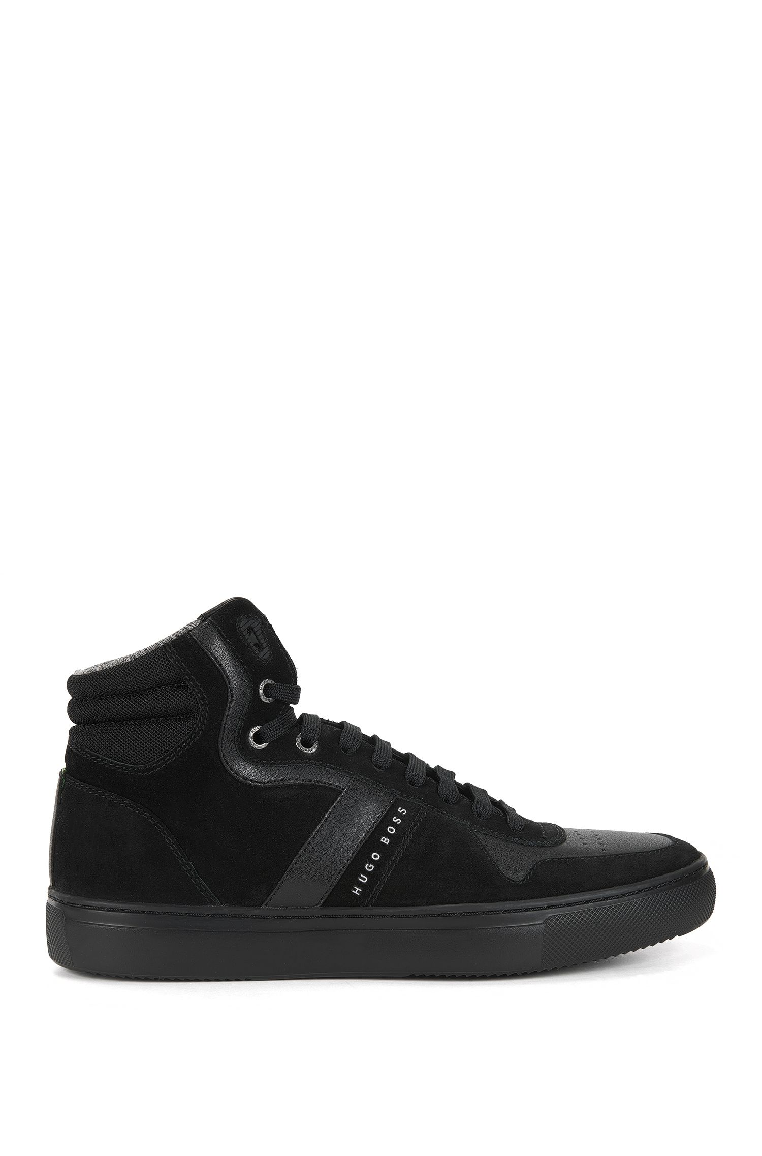 High-top trainers in leather and suede