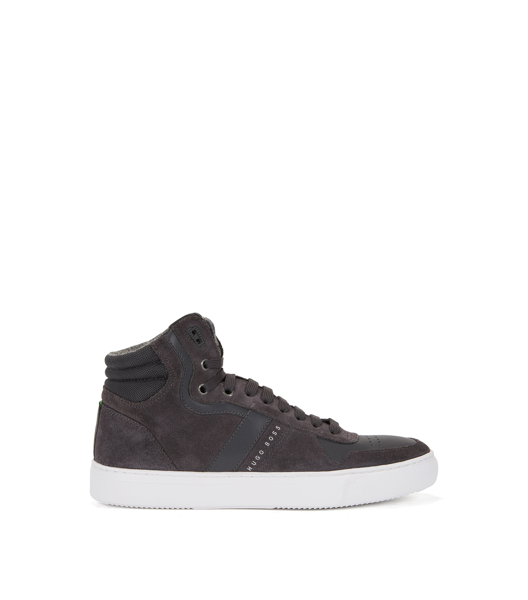 Sneakers high-top in pelle e pelle scamosciata, Grigio scuro