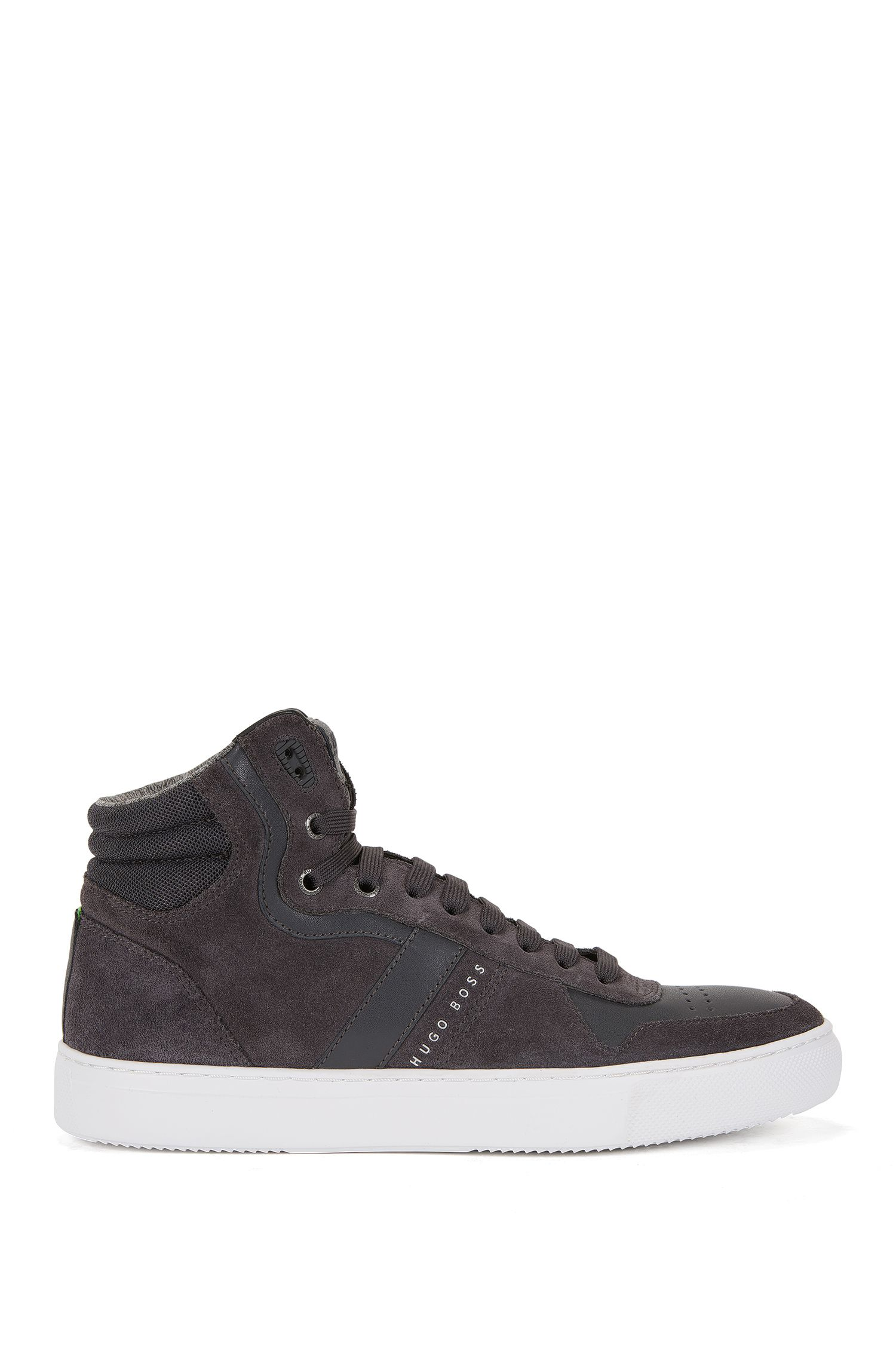 Sneakers high-top in pelle e pelle scamosciata
