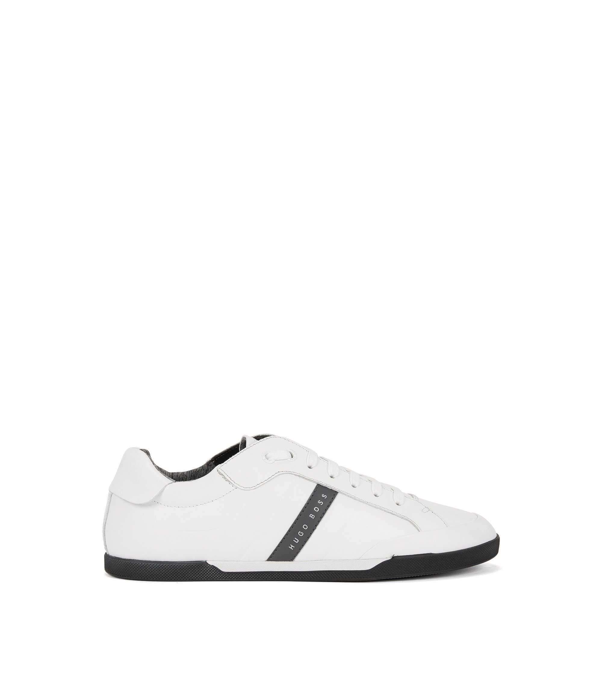 Sneakers low-top in pelle stampata, Bianco