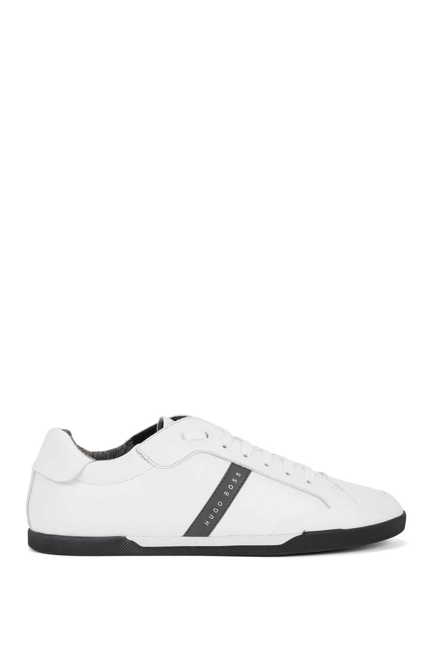 Low-top trainers in debossed leather