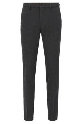 Slim-fit trousers in Italian stretch cotton, Dark Grey