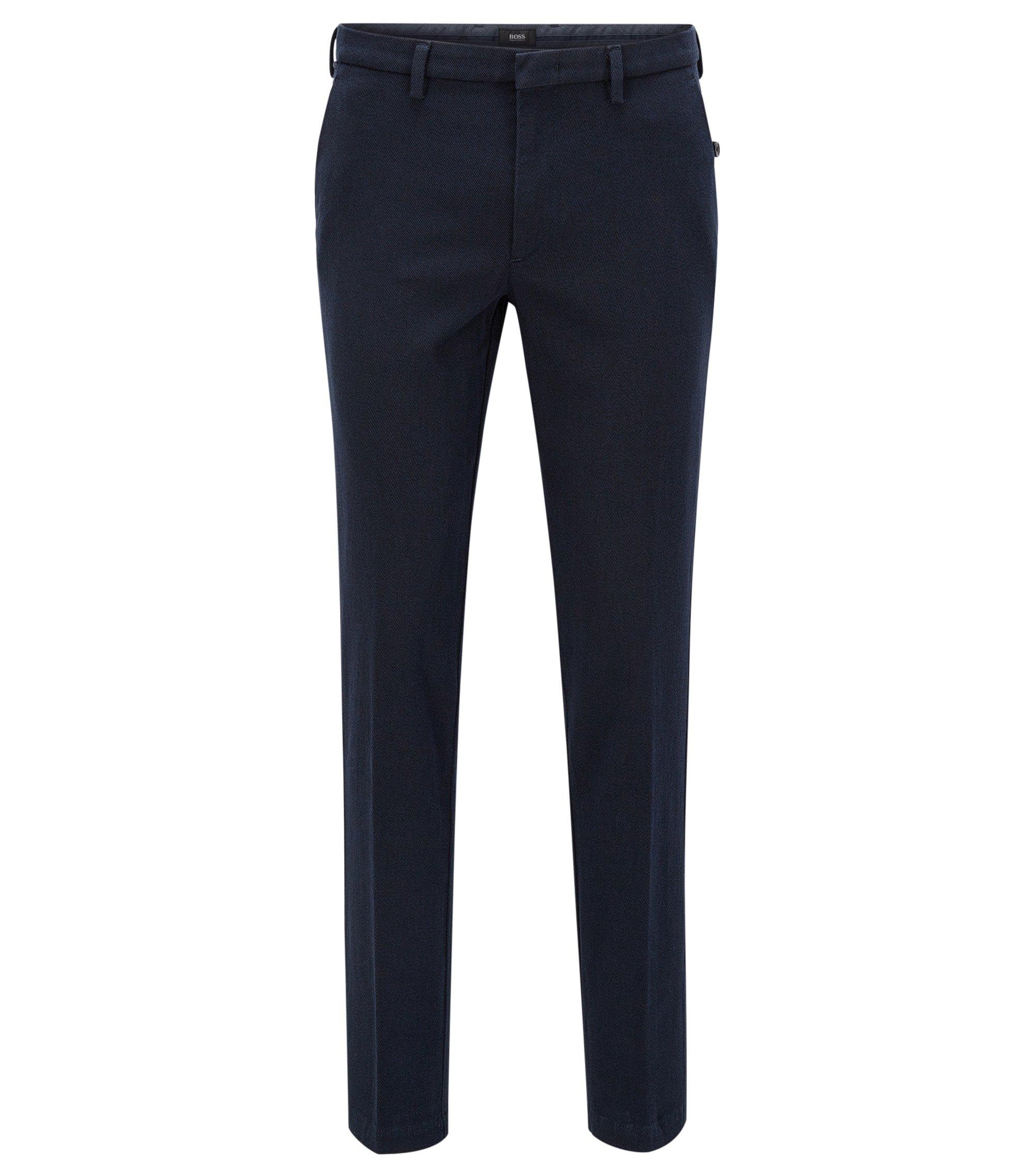 Slim-fit broek van Italiaanse stretchkatoen, Donkerblauw