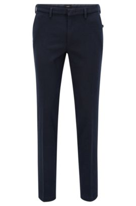 Pantalon Slim Fit en coton stretch italien, Bleu foncé
