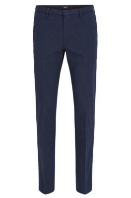 Slim-fit broek in een gemerceriseerde stretchtwill, Donkerblauw