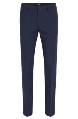 Slim-fit trousers in mercerised stretch twill, Dark Blue