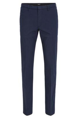 Slim-fit trousers in mercerised stretch twill, Dark Blue