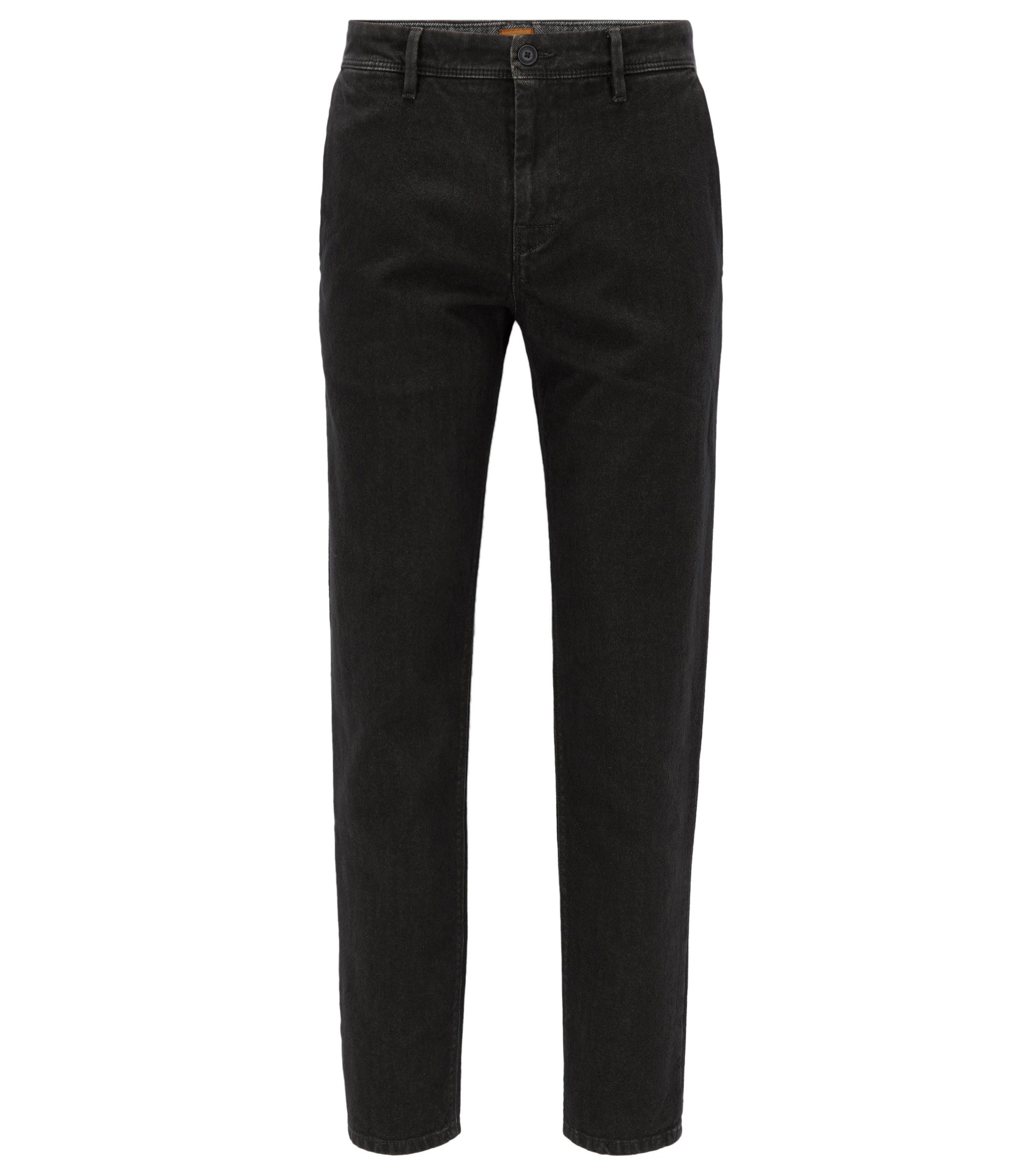 Pantalon Tapered Fit en coton à chevrons, Noir