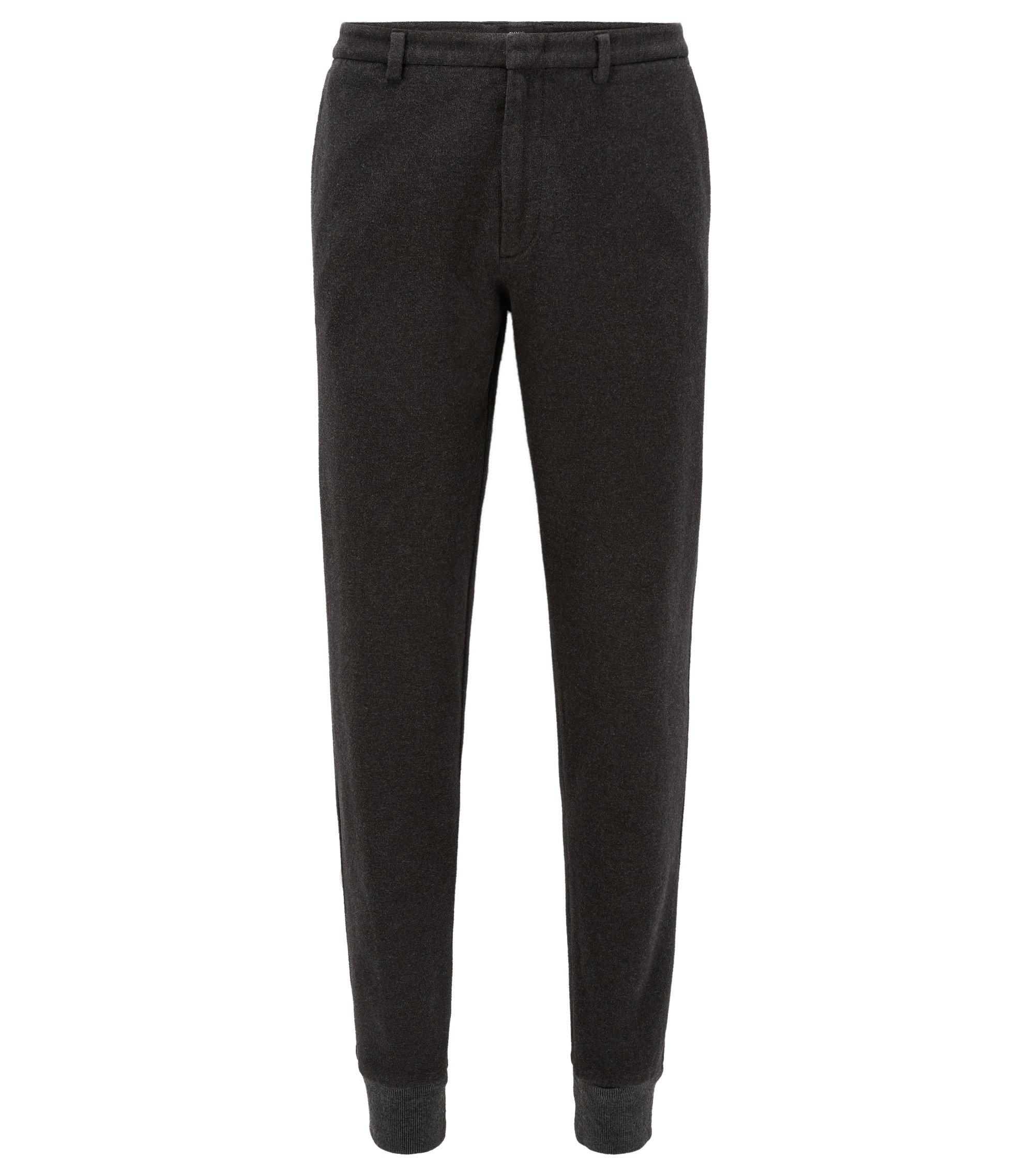 Slim-fit cuffed trousers in brushed cotton, Dark Grey
