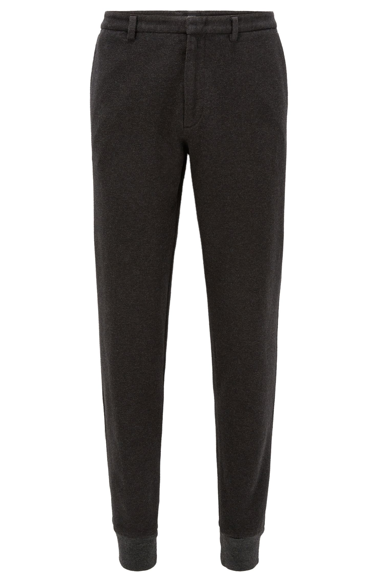 Slim-fit cuffed trousers in brushed cotton
