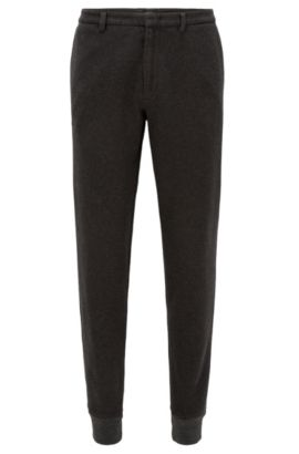 Slim-fit cuffed trousers in brushed cotton, Dark Grey