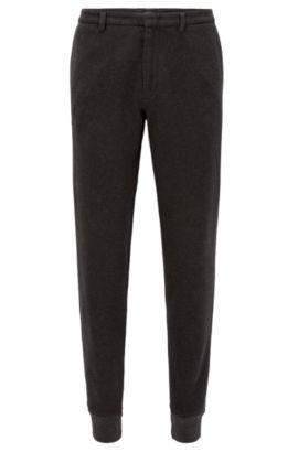 Pantalones slim fit en algodón cepillado con puños, Gris oscuro