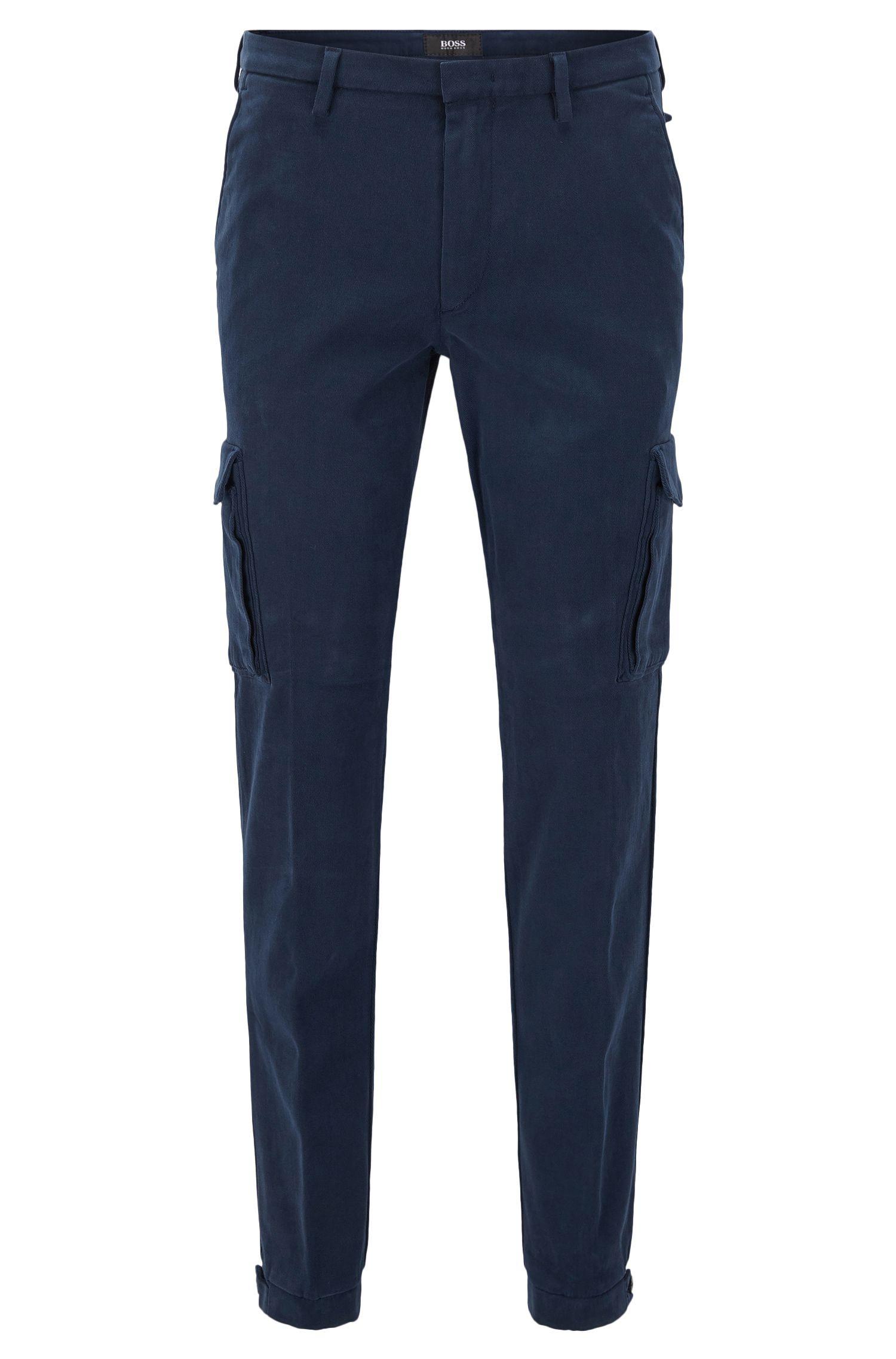 Slim-fit cargo trousers in Italian stretch cotton