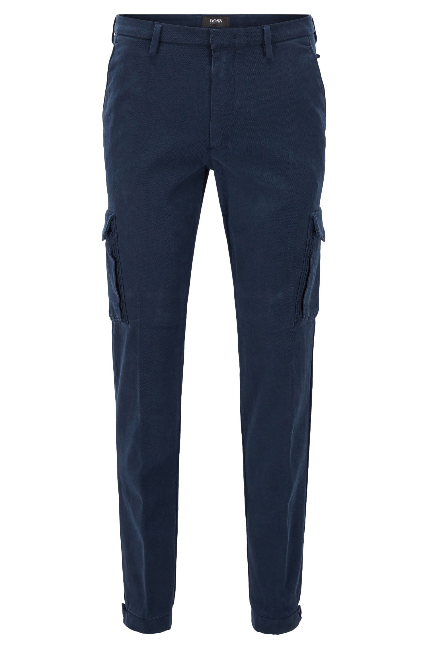 Slim-fit cargo trousers in Italian stretch cotton
