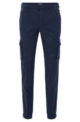 Pantalón slim fit de estilo cargo en algodón elástico italiano, Azul oscuro