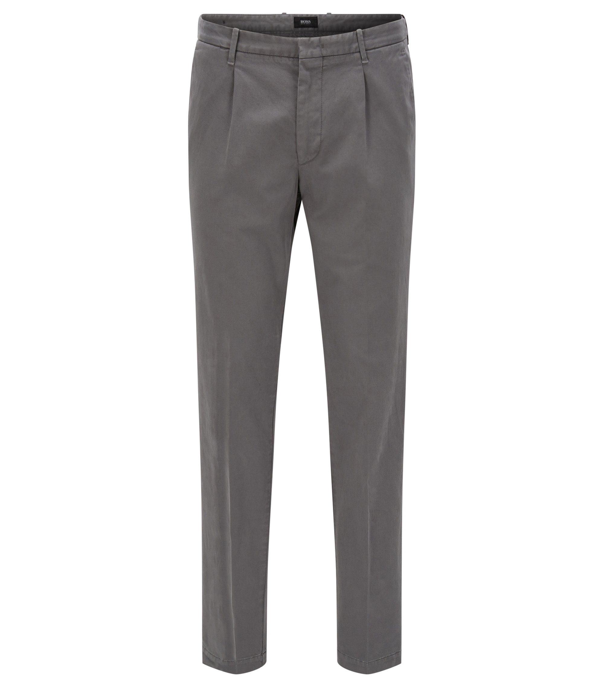 Slim-fit pleated chinos in Italian cotton blend, Grey
