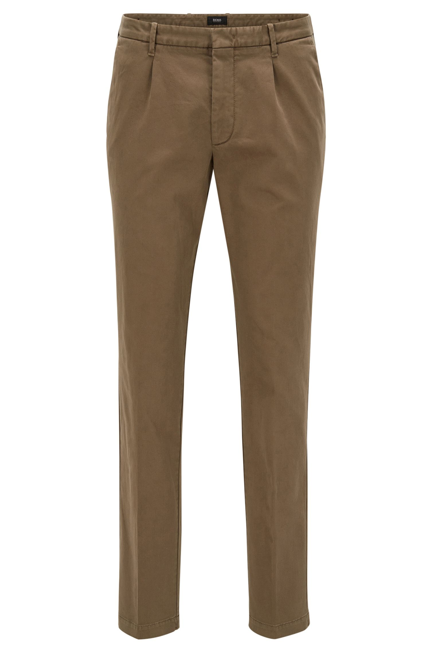 Slim-fit pleated chinos in Italian cotton blend