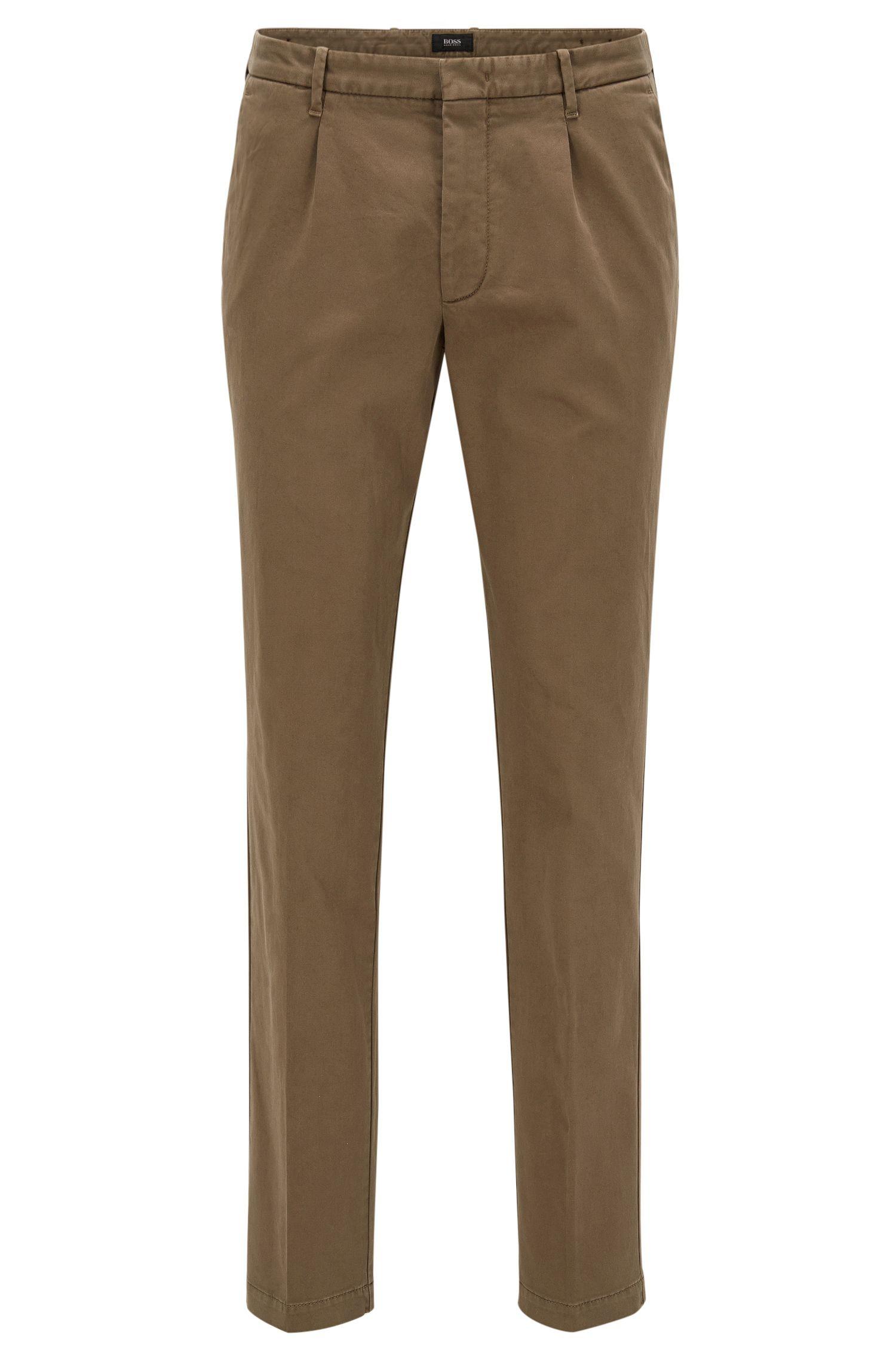 Chino Slim Fit à plis, en coton italien mélangé
