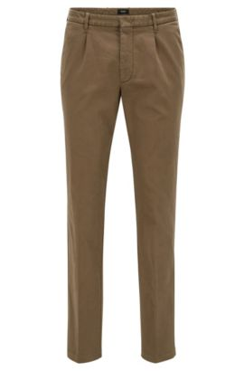 Slim-fit pleated chinos in Italian cotton blend, Khaki