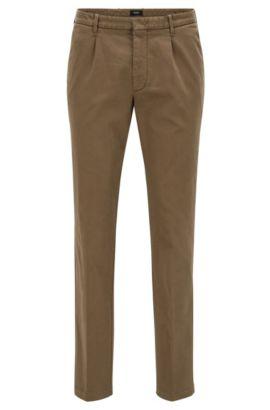 Chino Slim Fit à plis, en coton italien mélangé, Kaki