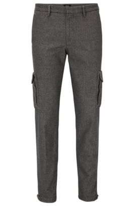 Chino Tapered Fit en tissu italien stretch, Gris chiné
