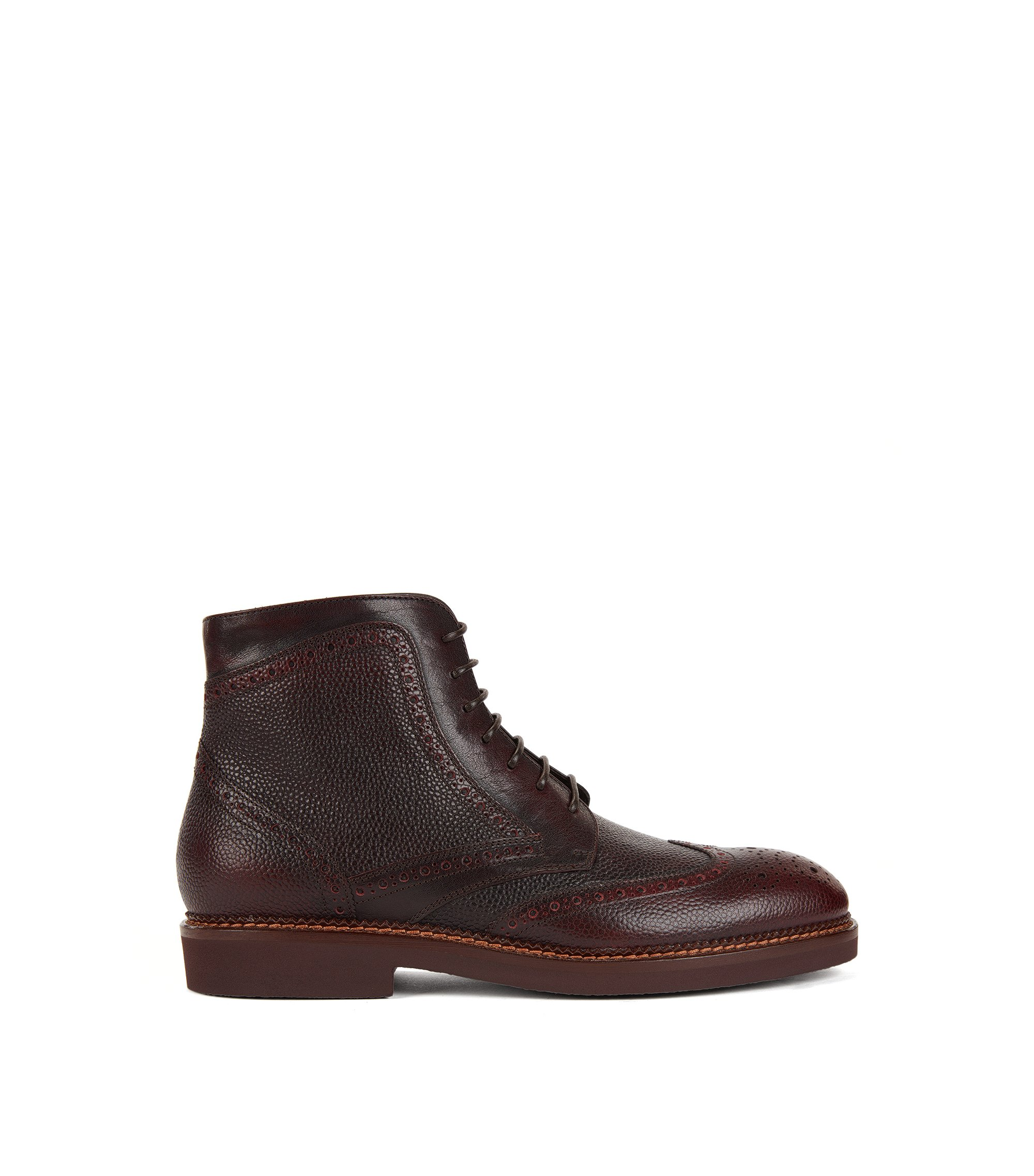 Lace-up boots in scotch-grain leather, Dark Red