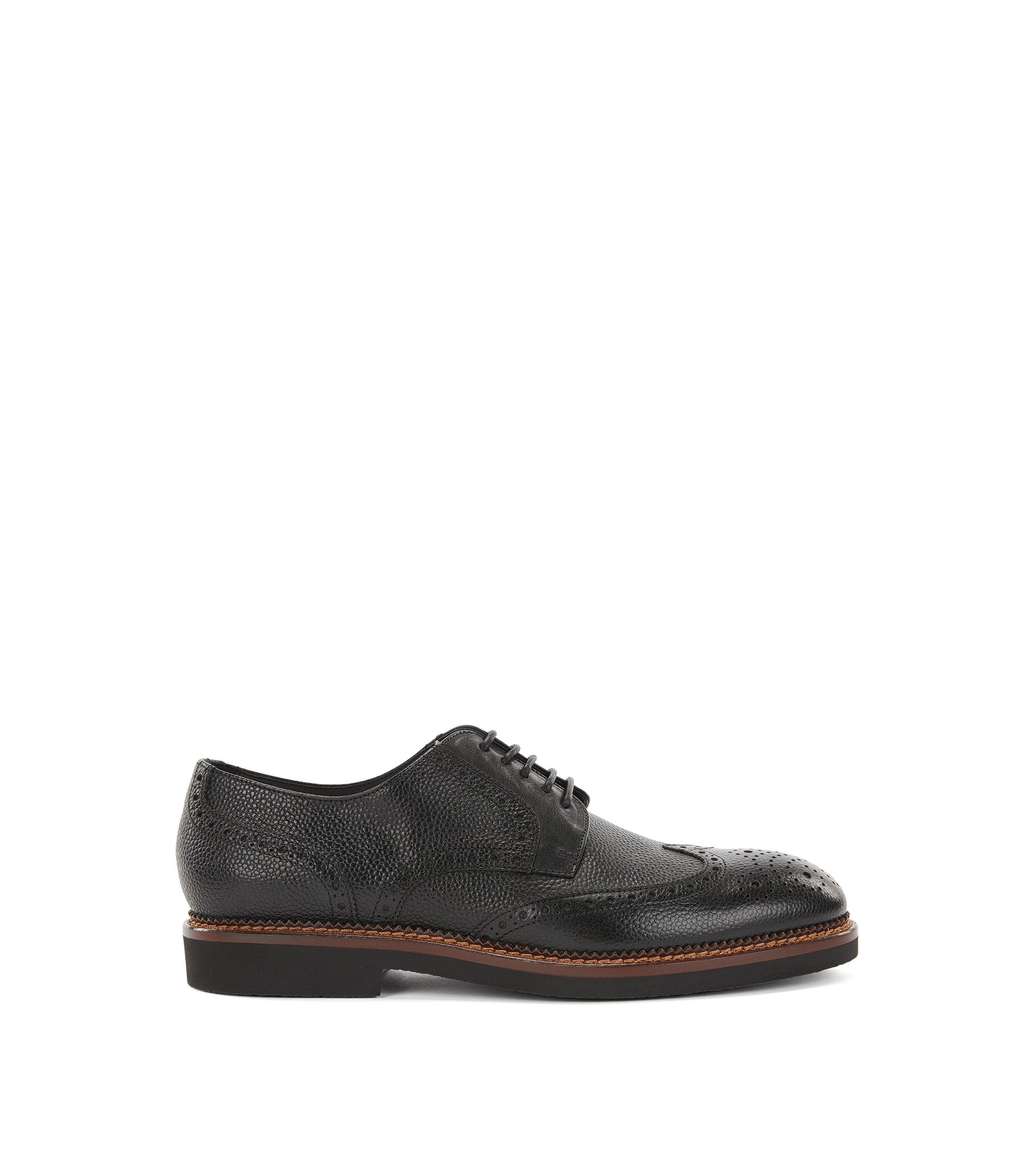 Lace-up brogue shoes in grained leather, Black