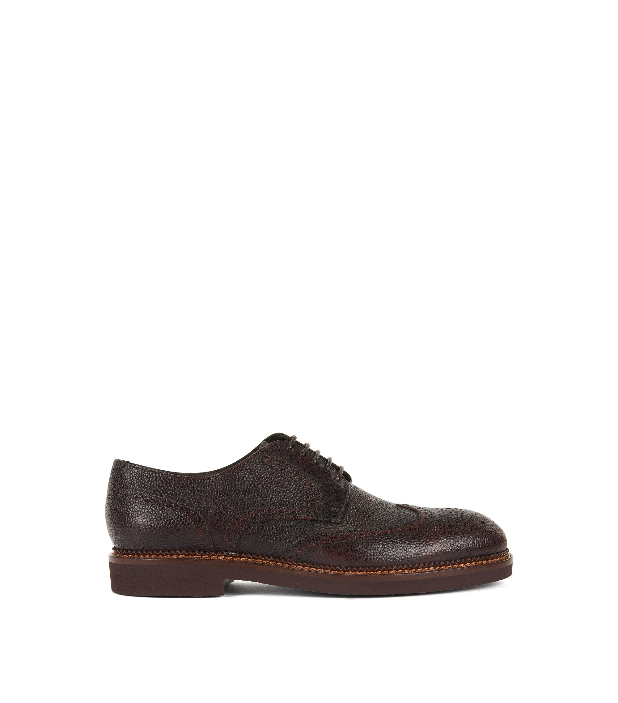 Lace-up brogue shoes in grained leather, Dark Red