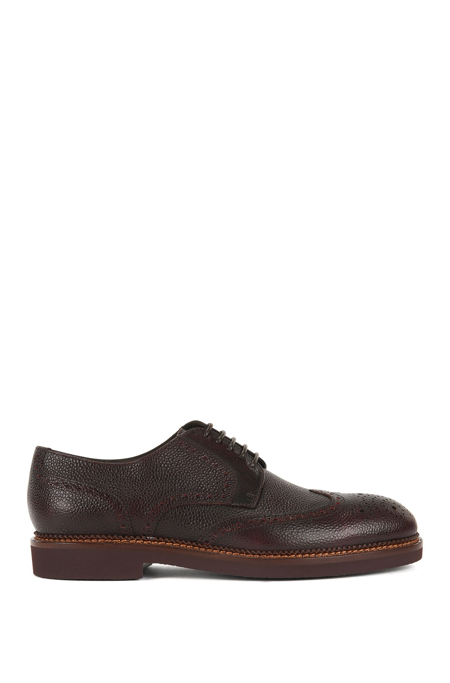 Scarpe brogue stringate in pelle martellata