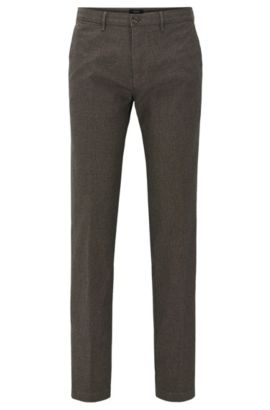 Chino regular fit in cotone elasticizzato italiano policromo, Marrone scuro