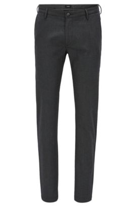 Slim-fit chinos in micro-pattern fabric, Dark Grey