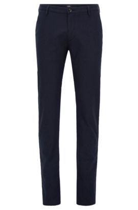 Slim-fit chinos in micro-pattern fabric, Dark Blue