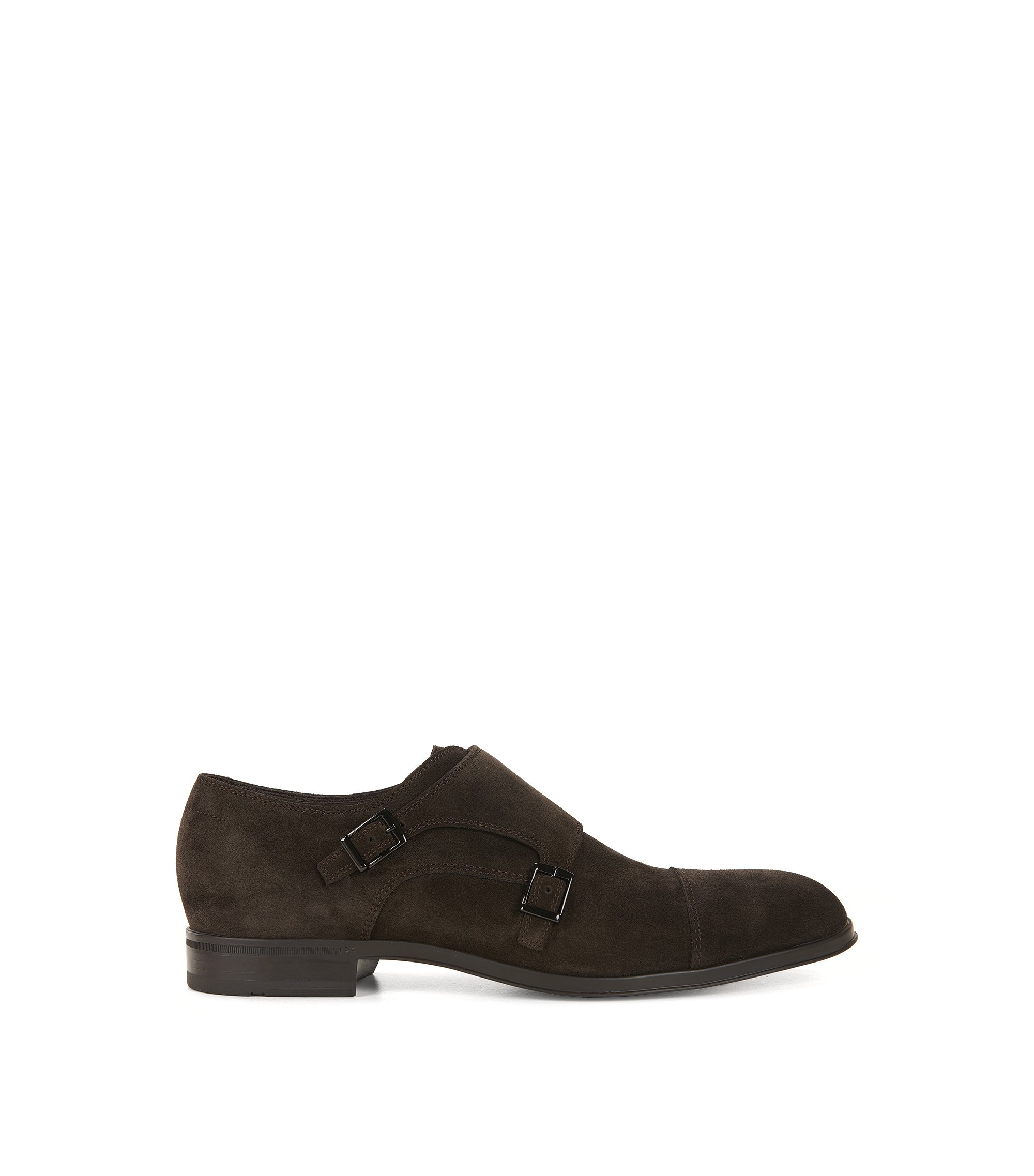Monk shoes in soft suede, Dark Brown