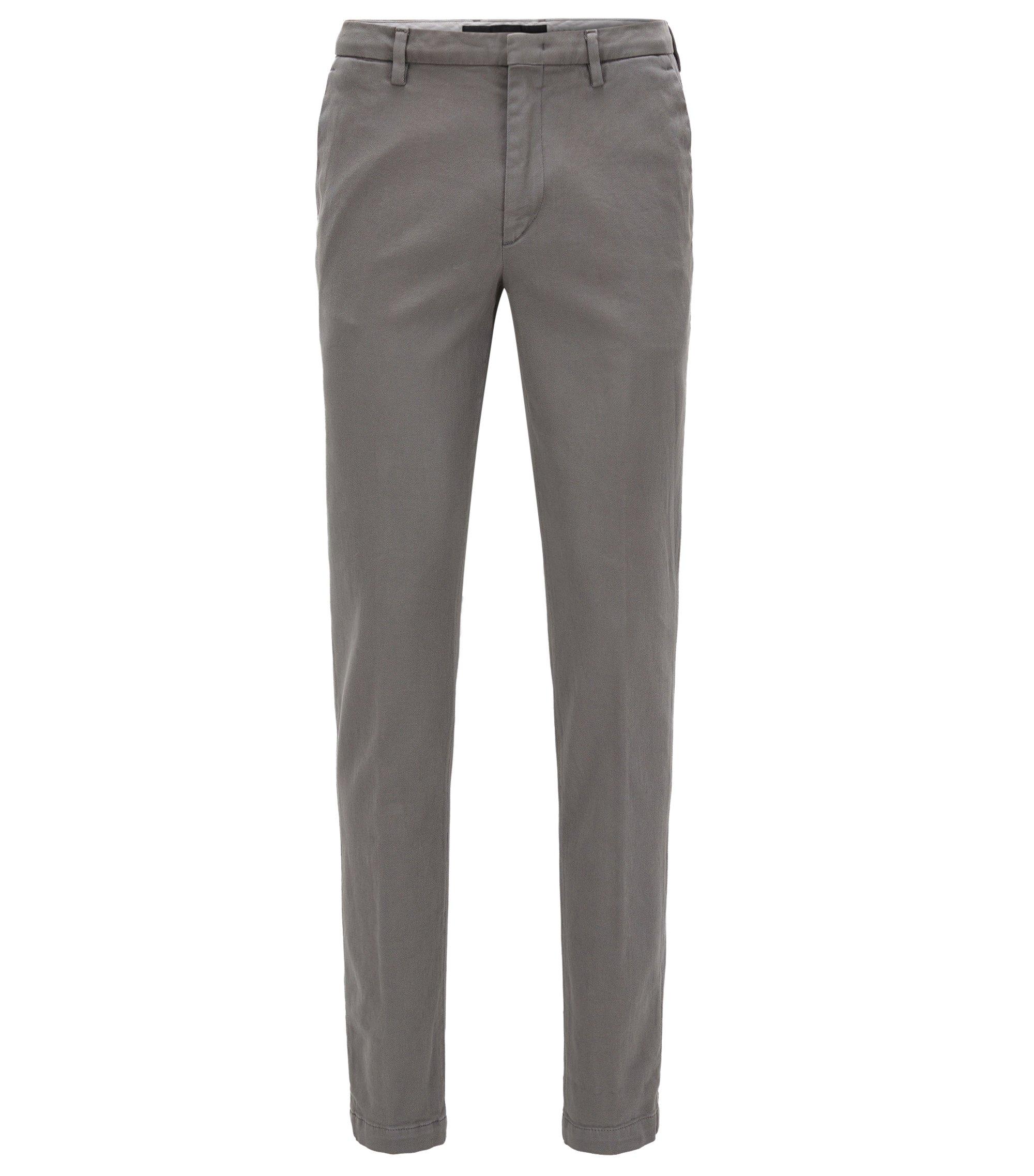 Slim-fit broek van Italiaanse stretchkatoen, Grijs
