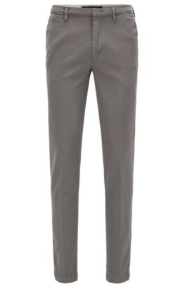 Pantalon Slim Fit en coton stretch italien, Gris chiné