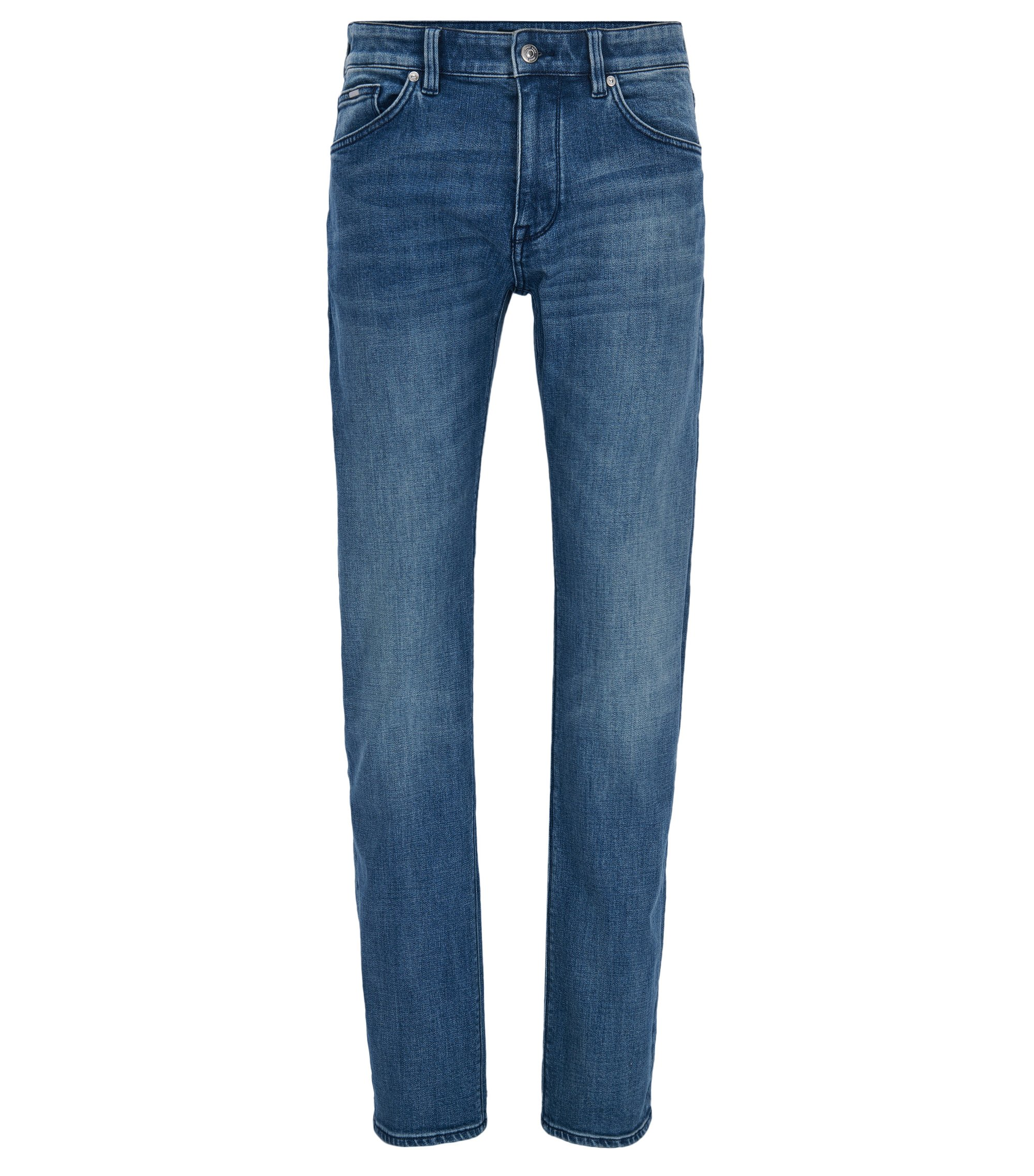 Regular-fit dark-blue jeans in distressed stretch denim, Blue