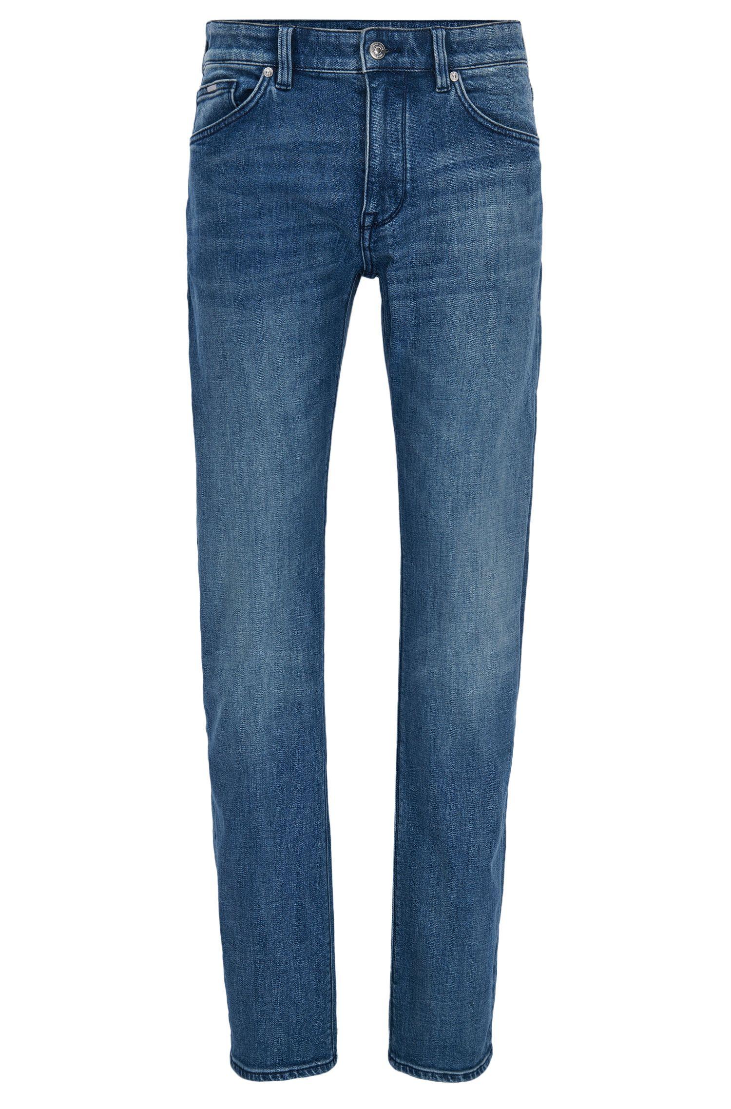 Donkerblauwe regular-fit jeans van distressed stretchdenim