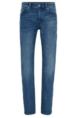 Donkerblauwe regular-fit jeans van distressed stretchdenim, Blauw