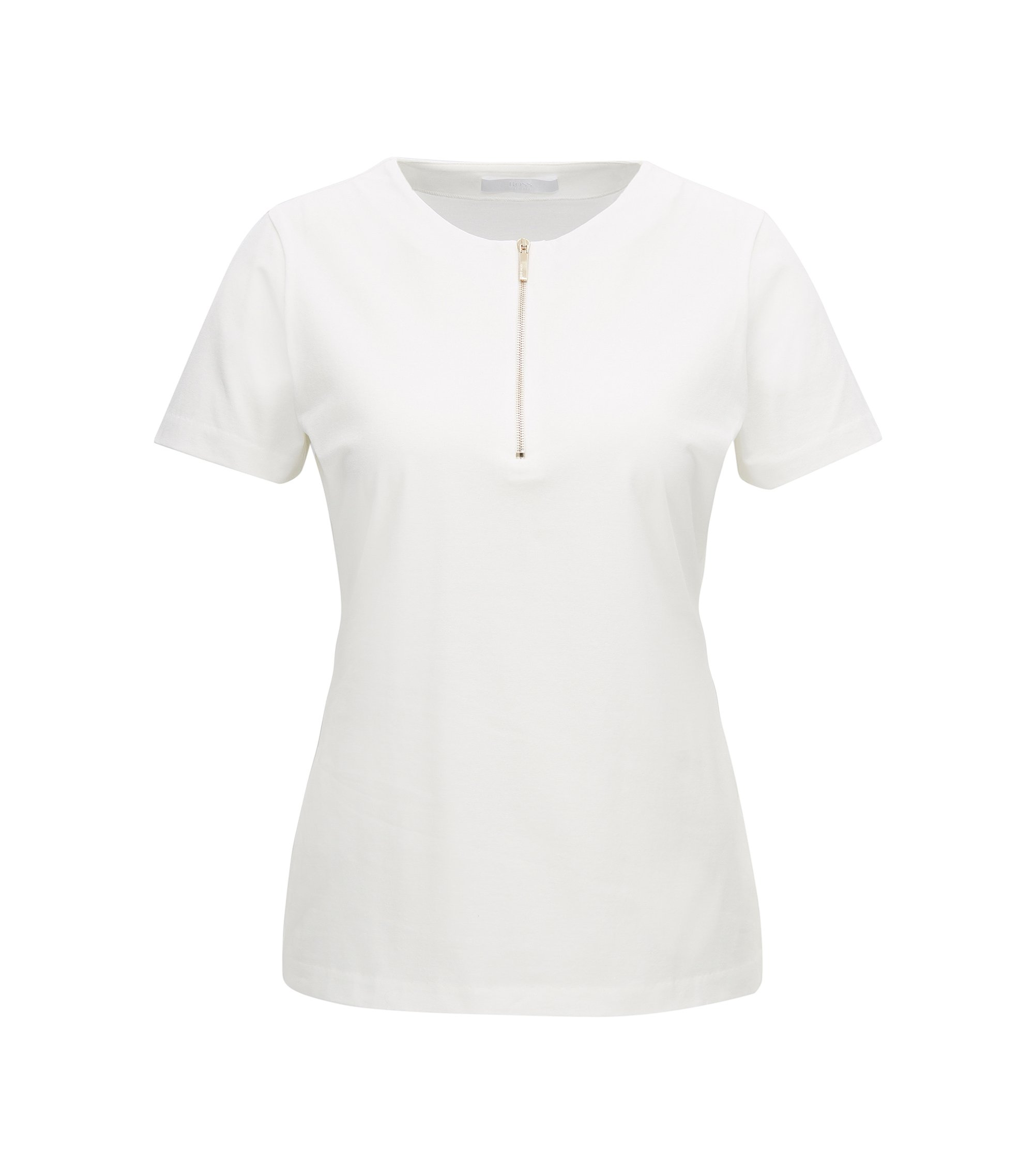 Regular-fit zip-neck top in stretch cotton, Natural