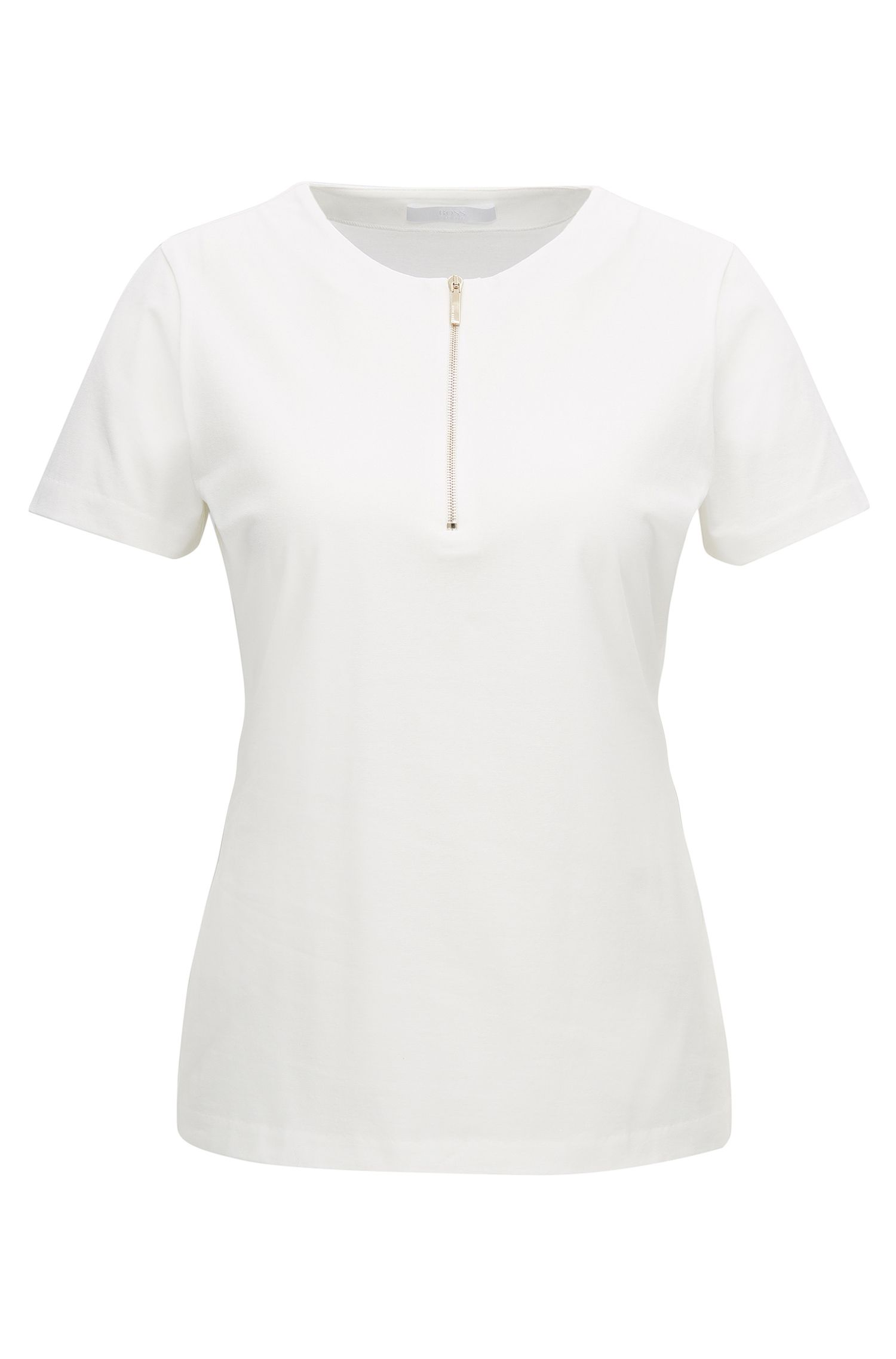 Regular-fit zip-neck top in stretch cotton