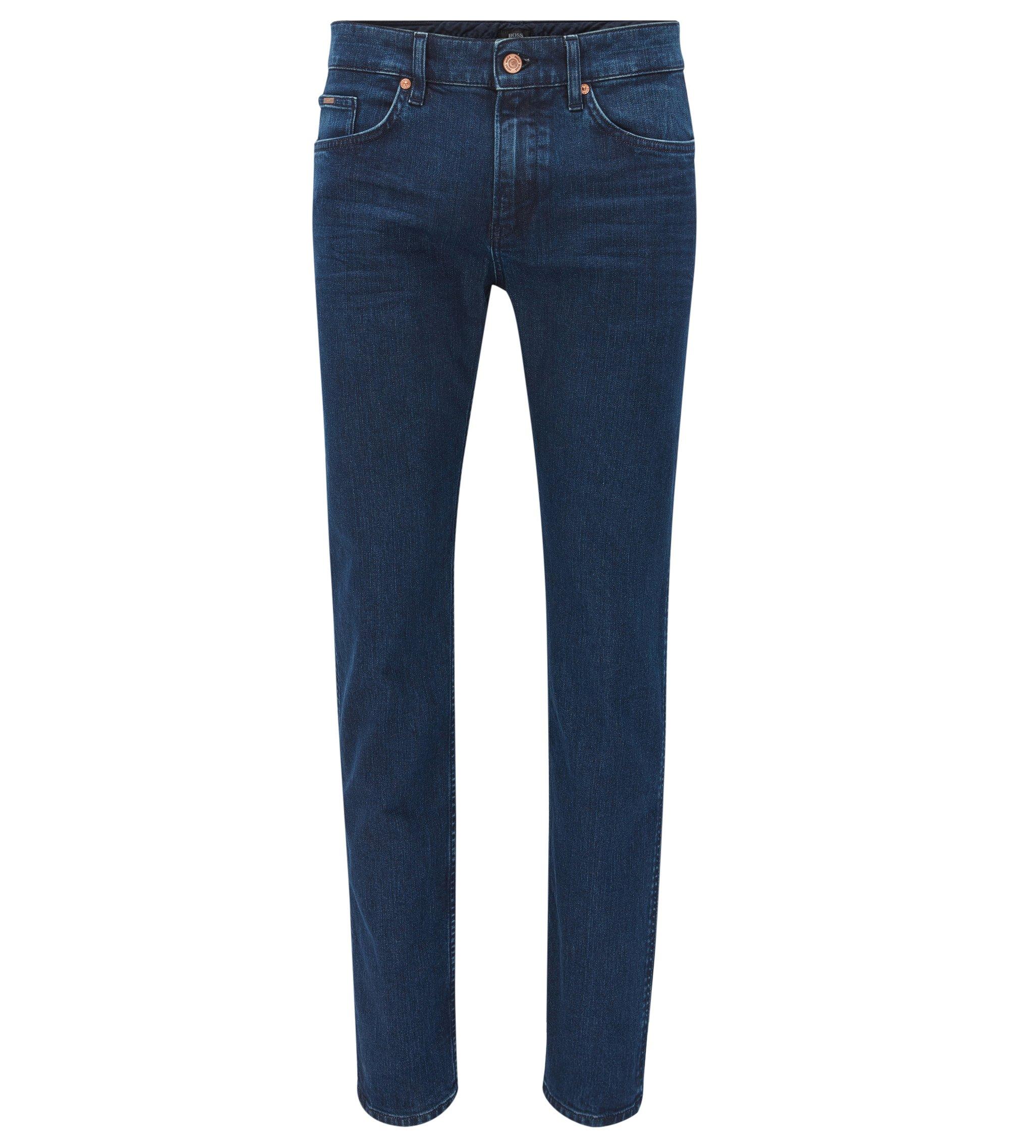 Dark indigo slim-fit jeans in mid-washed stretch denim, Dark Blue