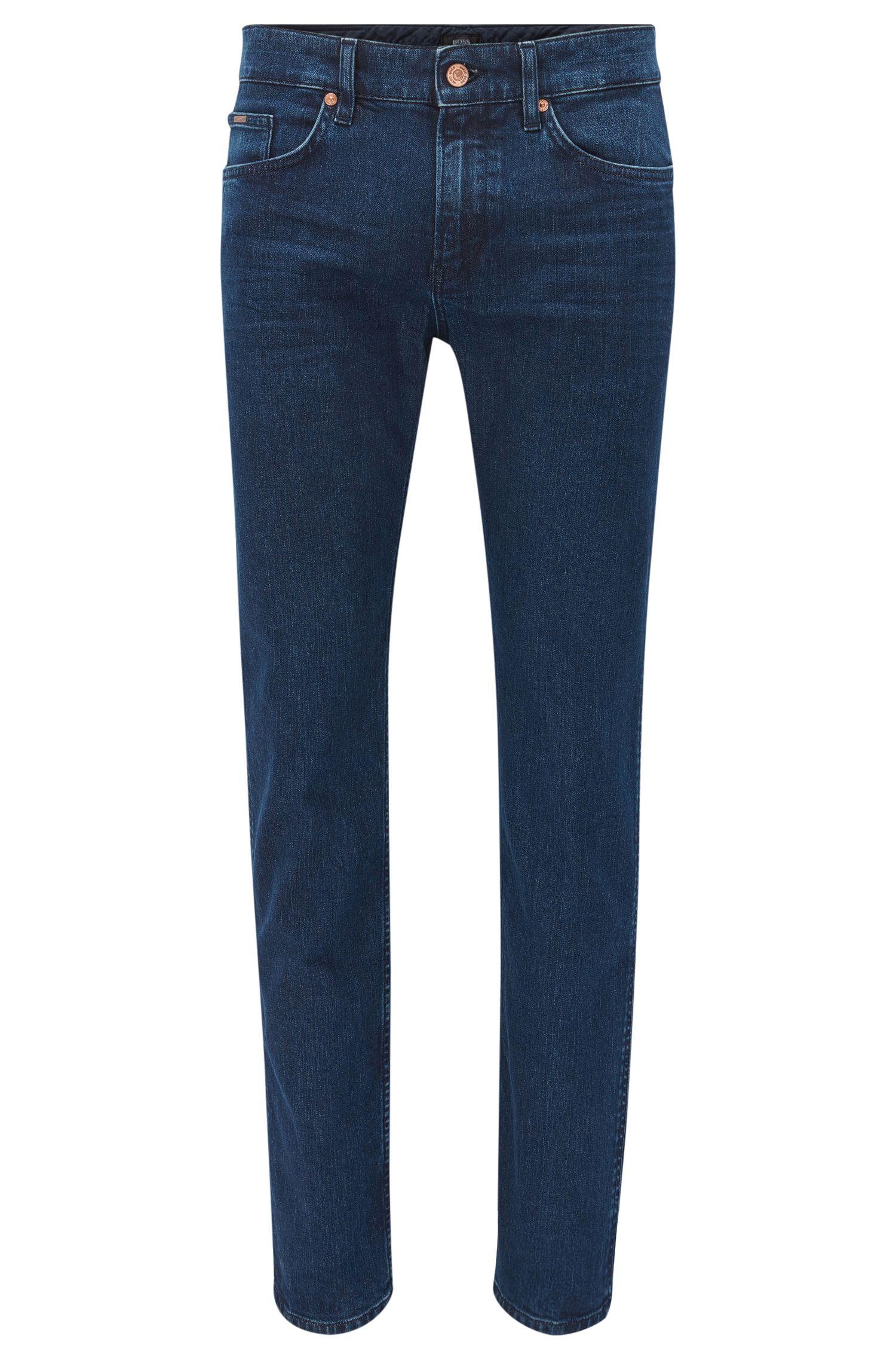Dark indigo slim-fit jeans in mid-washed stretch denim