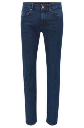 Dark indigo slim-fit jeans in mid-washed stretch denim, Dark Blue